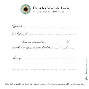 Carte Cadeau Dans les Yeux de Lucie-Verso